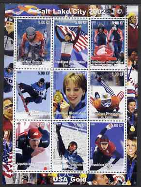 Congo 2002 Salt Lake City Olympics - USA Gold perf sheetlet containing 9 values unmounted mint. Note this item is privately produced and is offered purely on its thematic appeal