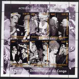 Congo 2001 Cinema Actors & Actresses perf sheetlet containing set of 6 values unmounted mint. Note this item is privately produced and is offered purely on its thematic a...
