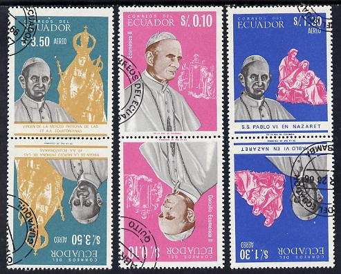 Ecuador 1966 Pope Paul VI cto set of 3 in tete-beche pairs