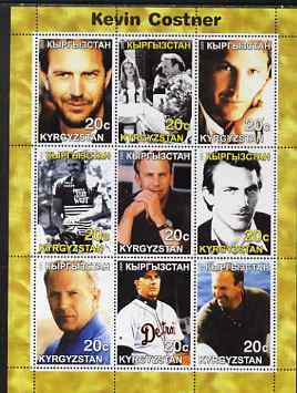 Kyrgyzstan 2000 Kevin Costner perf sheetlet containing 9 values unmounted mint