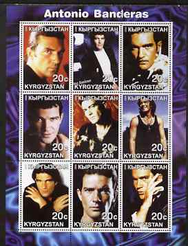 Kyrgyzstan 2000 Antonio Banderas perf sheetlet containing 9 values unmounted mint