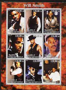 Turkmenistan 2000 Will Smith perf sheetlet containing 9 values unmounted mint. Note this item is privately produced and is offered purely on its thematic appeal, stamps on personalities, stamps on entertainments, stamps on music, stamps on pops, stamps on films, stamps on cinema