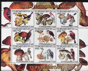 Turkmenistan 2000 Birds & Mushrooms perf sheetlet containing 9 values unmounted mint