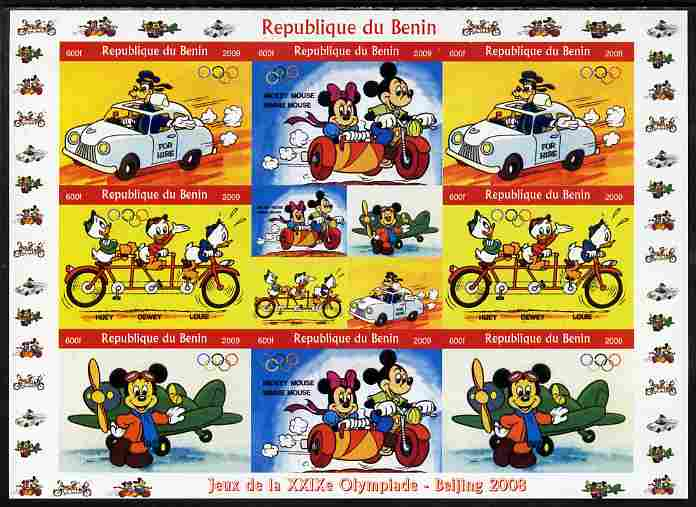 Benin 2009 Beijing Olympics #3 - Disney Characters (Transport) imperf sheetlet containing 8 values plus label unmounted mint. Note this item is privately produced and is offered purely on its thematic appeal