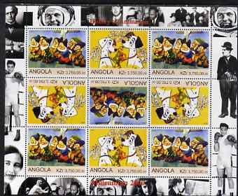 Angola 2000 Millennium 2000 - History of Animation #1 perf sheetlet containing 9 values (in tete-beche format) unmounted mint (Disney Characters with Elvis, Chaplin, Beat...