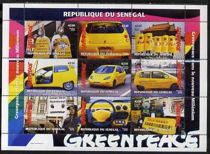 Senegal 2000 Greenpeace perf sheetlet containing 9 values unmounted mint