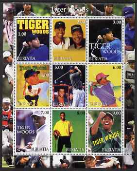 Buriatia Republic 2001 Tiger Woods perf sheetlet containing 9 values unmounted mint