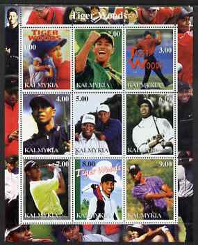 Kalmikia Republic 2001 Tiger Woods perf sheetlet containing 9 values unmounted mint
