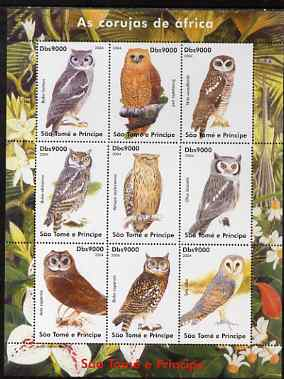 St Thomas & Prince Islands 2004 Owls perf sheetlet containing set of 9 values unmounted mint
