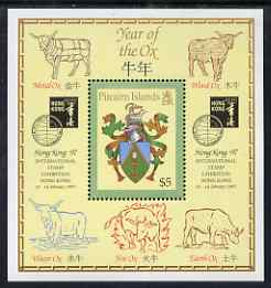 Pitcairn Islands 1997 Hong Kong 97 Stamp Exhibition - Year of the Ox perf m/sheet unmounted mint SG MS510