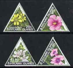 Pitcairn Islands 1998 Flowers triangular perf set of 4 unmounted mint SG 535-38