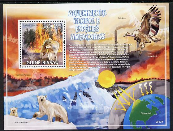 Guinea - Bissau 2009 Global Warming & Endangered Animals perf s/sheet unmounted mint