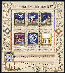 St Vincent 1978 Christmas (While Shepherds Watched) m/sheet opt'd Specimen unmounted mint, as SG MS 550
