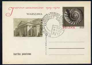 Poland 1970 Institute of Geology 40gr p/stat card showing an ammonite used with pictorial cancel