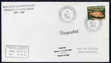 Australia used in French Southern & Antarctic Territories 1985 Paquebot cover carried on Dumont D