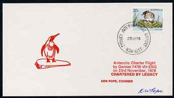 Australia 1978 Antarctic Charter Flight card with Penguin cachet in red, signed by Ken Pope, Courier unmounted mint