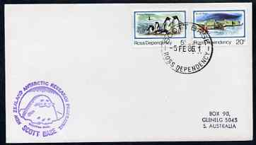Ross Dependency 1986 cover bearing 5c penguins & 20c Scott base with Scott Base cancel & New Zealand Antarctic Research Programme, Scott Base cachet showing a Seal in violet