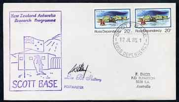Ross Dependency 1985 cover with Scott Base cancel & New Zealand Antarctic Research Programme, Scott Base cachet showing a Penguin in violet, signed by Leo Slattery, Postmaster