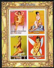 Congo 2005 Nude Pin-Up Paintings by Mel Ramos #3 imperf sheetlet containing 4 values unmounted mint (one stamp shows model with Telephone)