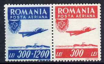 Rumania 1946 Sports - Air se-tenant pair unmounted mint SG 1821a, stamps on aviation, stamps on sport