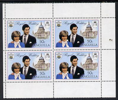 Booklet - Anguilla 1981 Royal Wedding two 50c booklet panes of 4 each with double black showing wmks sideways and sideways inverted (as SG 468ab)