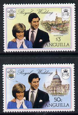 Anguilla 1981 Royal Wedding set of 2 each with double black (as SG 468-69ab) unmounted mint, stamps on royalty, stamps on diana, stamps on charles, stamps on