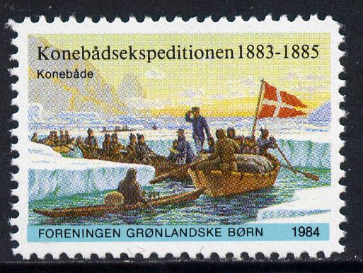 Cinderella - Greenland 1984 label commemorating the 1883-85 Konebade Expedition showing the team in boats unmounted mint