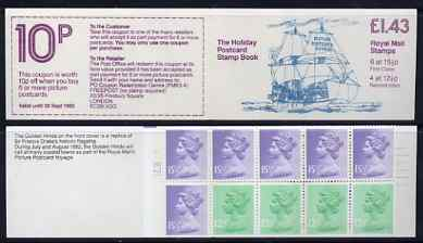 Booklet - Great Britain 1982 Holiday Postcard Book (The Golden Hinde) \A31.43 booklet complete with cyl number in margin at left SG FN3A