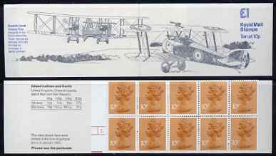 Booklet - Great Britain 1979-81 Military Aircraft #2 (Sopwith Camel & Vickers Vimy) \A31.00 folded booklet with cyl number in margin at left SG FH2A