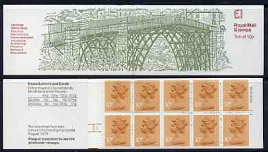 Booklet - Great Britain 1979-81 Industrial Archaeology Series #1 (Ironbridge, Telford) \A31.00 folded booklet with cyl number in margin at left SG FH1A