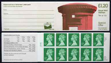 Booklet - Great Britain 1986 Pillar Box (Write Now) \A31.20 folded booklet with cyl number in margin at left SG FJ4A