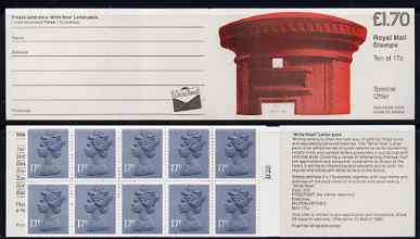 Booklet - Great Britain 1986 Pillar Box (Write Now) \A31.70 folded booklet with cyl number in margin at right SG FT5B