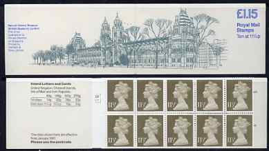 Booklet - Great Britain 1981 Museums #1 (Natural History) \A31.15 booklet complete with cyl number in margin at left SG FI3A