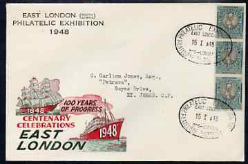 South Africa 1948 illustrated cover for East London (SA) Philatelic Centenary Exhibition bearing 1.5d stamps with special Exhibition cancel