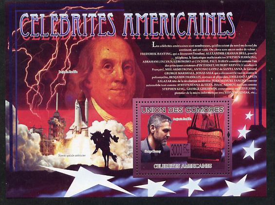 Comoro Islands 2009 American Celebrities perf s/sheet unmounted mint
