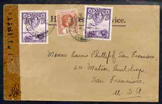 Antigua 1940s cover to USA bearing 2 x Antigua KG6 6d plus Leeward 1.5d chestnut tied St Johns cds (date not clear) fine, stamps on , stamps on  kg6 , stamps on