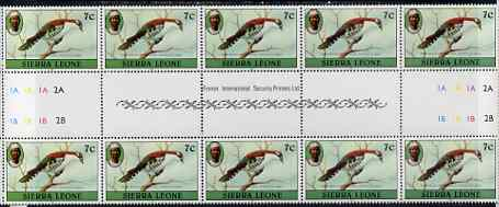 Sierra Leone 1980-82 Birds - Didric Cuckoo 7c (with 1982 imprint date) inter-paneau block of 10 (5 gutter pairs) unmounted mint SG 626B*