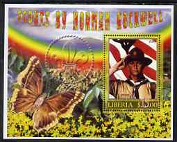 Liberia 2006 Scouts by Norman Rockwell #2 perf m/sheet with Butterfly, fine cto used
