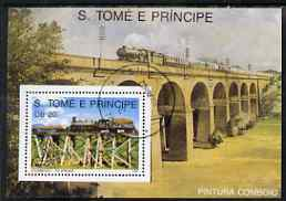 St Thomas & Prince Islands 1989 Railway Locos (Philippines) perf m/sheet fine cto used