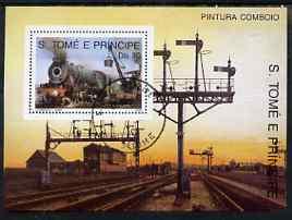 St Thomas & Prince Islands 1989 Railway Locos (Asian) perf m/sheet fine cto used
