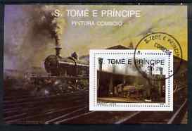 St Thomas & Prince Islands 1989 Railway Locos (Japan) perf m/sheet fine cto used