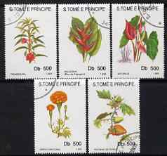 St Thomas & Prince Islands 1993 Flowers perf set of 5 fine cto used