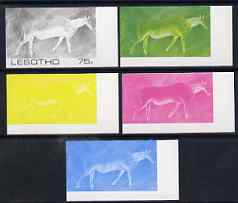 Lesotho 1983 Eland (Rock Paintings) 75s value the set of 5 imperf progressive proofs comprising the 4 individual colours plus blue & Yellow composite, unmounted mint and extremely rare, as SG 543