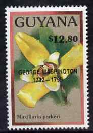 Guyana 1990 (?) George Washington opt on $12.80 orchid (Maxillaria p) from World Personalities overprints, unmounted mint as SG type 465