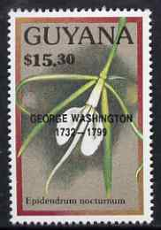 Guyana 1990 (?) George Washington opt on $15.30 orchid (Epidendrum n) from World Personalities overprints, unmounted mint as SG type 465, stamps on personalities, stamps on orchids, stamps on flowers, stamps on constitutions, stamps on americana, stamps on presidents
