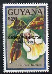 Guyana 1990 (?) George Washington opt on $20.00 orchid (Scuticaria h) from World Personalities overprints, unmounted mint as SG type 465