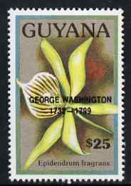 Guyana 1990 (?) George Washington opt on $25.00 orchid (Epidendrum f) from World Personalities overprints, unmounted mint as SG type 465