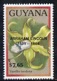 Guyana 1990 (?) Abraham Lincoln opt on $7.65 orchid (Vanilla i) from World Personalities overprints, unmounted mint as SG type 465