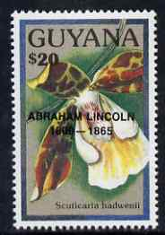 Guyana 1990 (?) Abraham Lincoln opt on $20.00 orchid (Scuticaria h) from World Personalities overprints, unmounted mint as SG type 465, stamps on personalities, stamps on orchids, stamps on flowers, stamps on constitutions, stamps on americana, stamps on presidents
