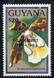 Guyana 1990 (?) F D Roosevelt opt on $20.00 orchid (Scuticaria h) from World Personalities overprints, unmounted mint as SG type 465